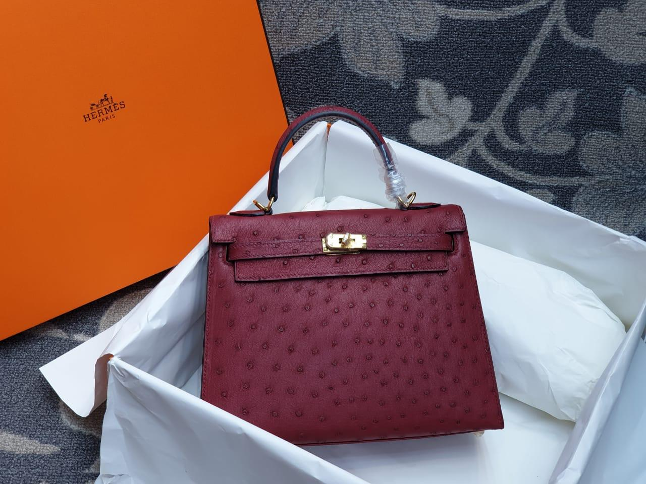 Hermes Kelly Ostrich Leather H001