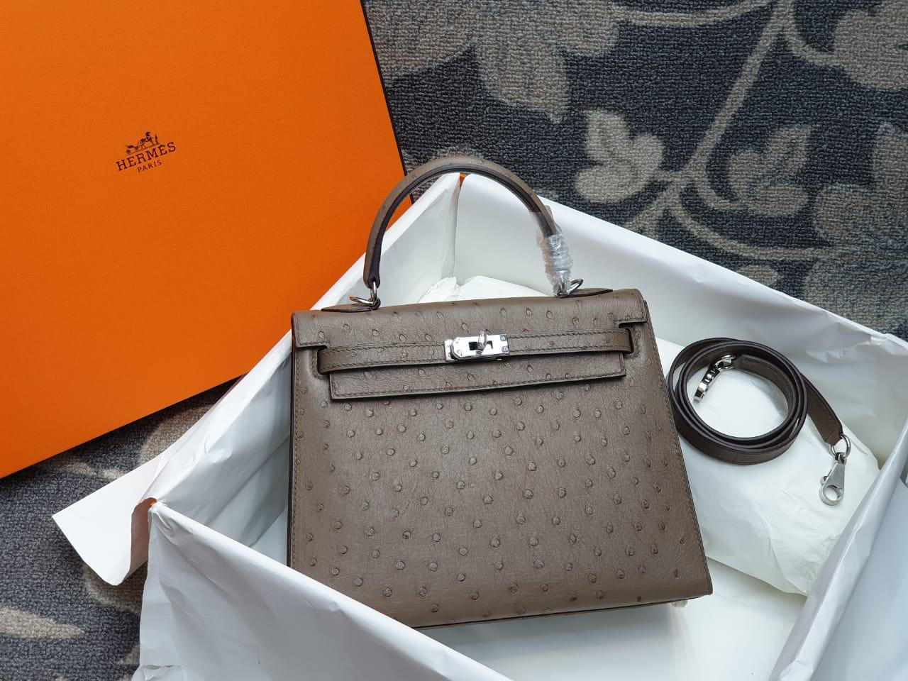 Hermes Kelly Ostrich Leather H002