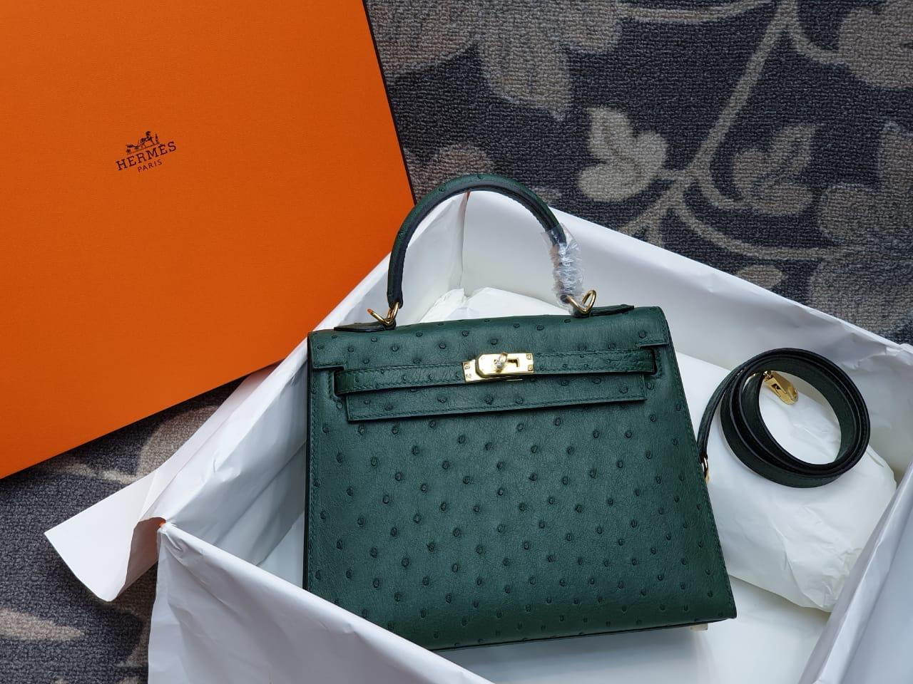 Hermes Kelly Ostrich Leather H005
