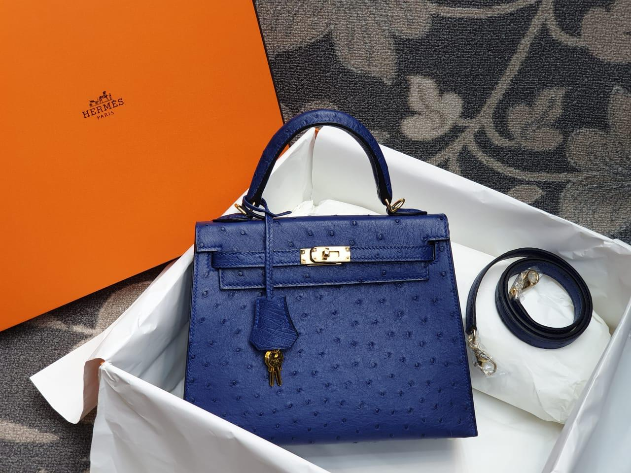 Hermes Kelly Ostrich Leather H007