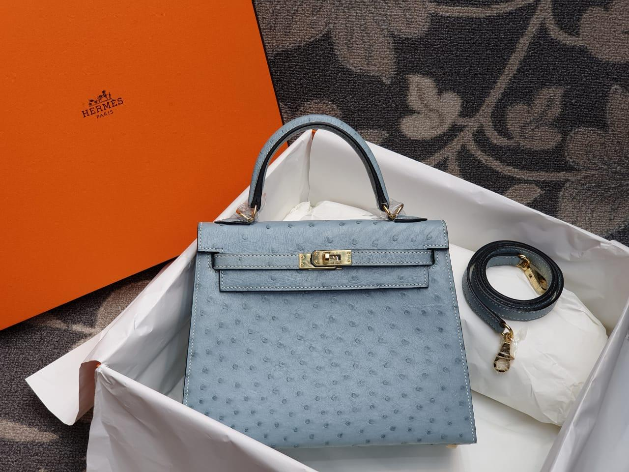 Hermes Kelly Ostrich Leather H009